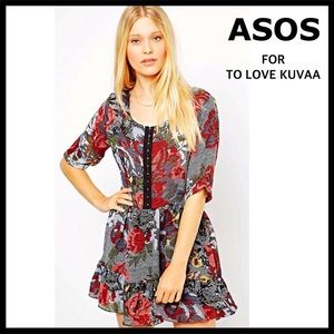 ASOS FLORAL PRINT A-LINE MINI FIT-AND-FLARE DRESS